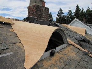 Eyebrow dormer placed on roof